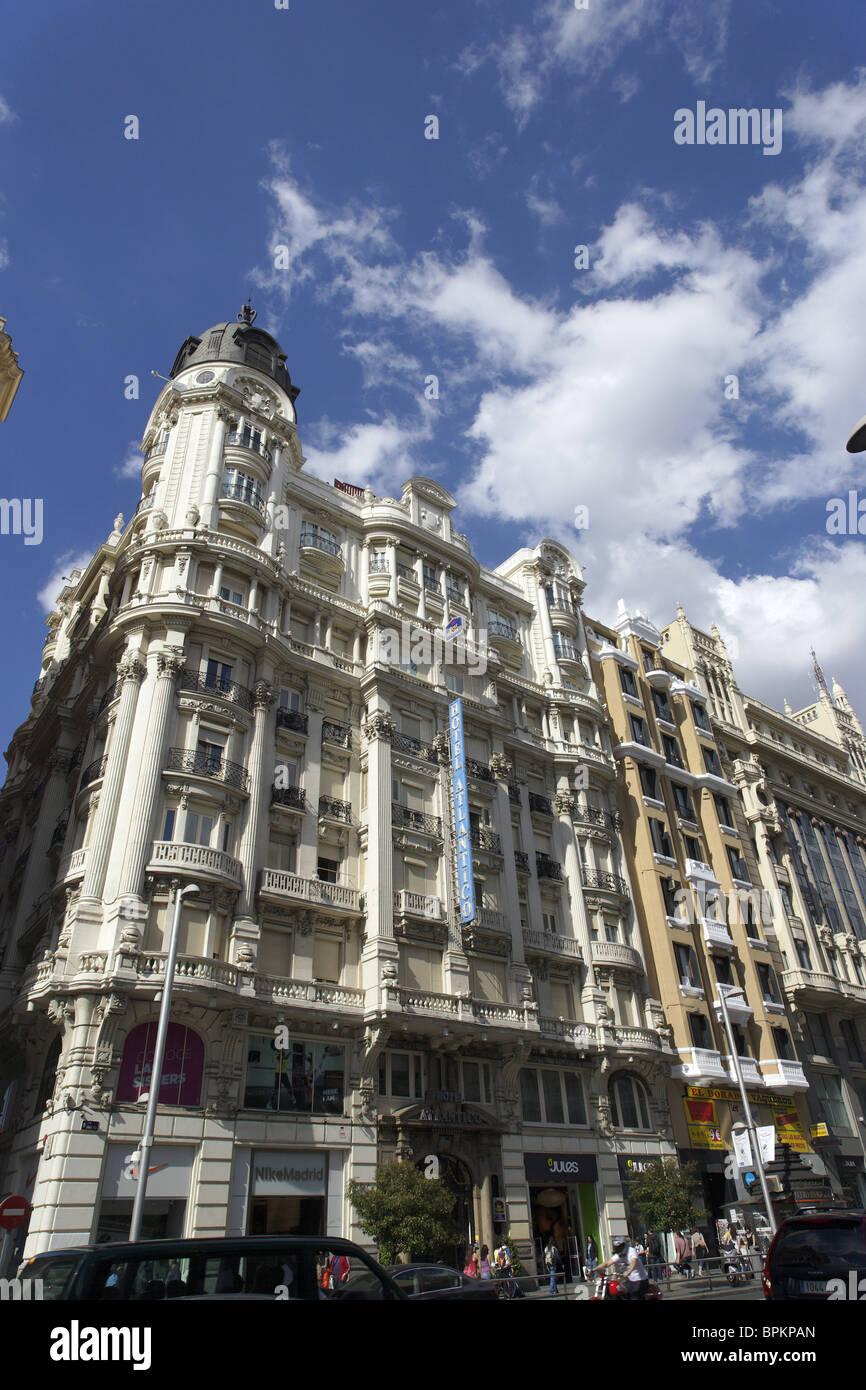Buildings at Gran Via, Madrid, Spain - Stock Image