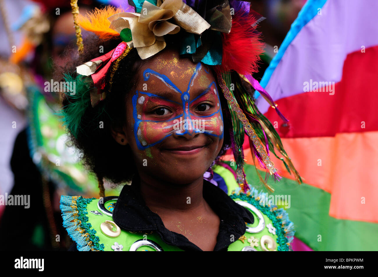 Portrait of a Girl Dancer at the Notting Hill Carnival Childrens Day Parade, London, England, UK - Stock Image