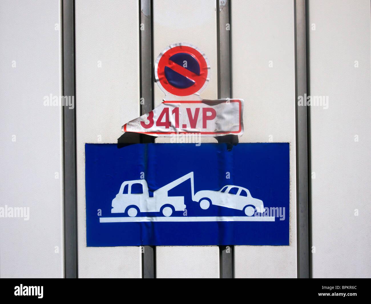 No parking sign at a garage - Stock Image