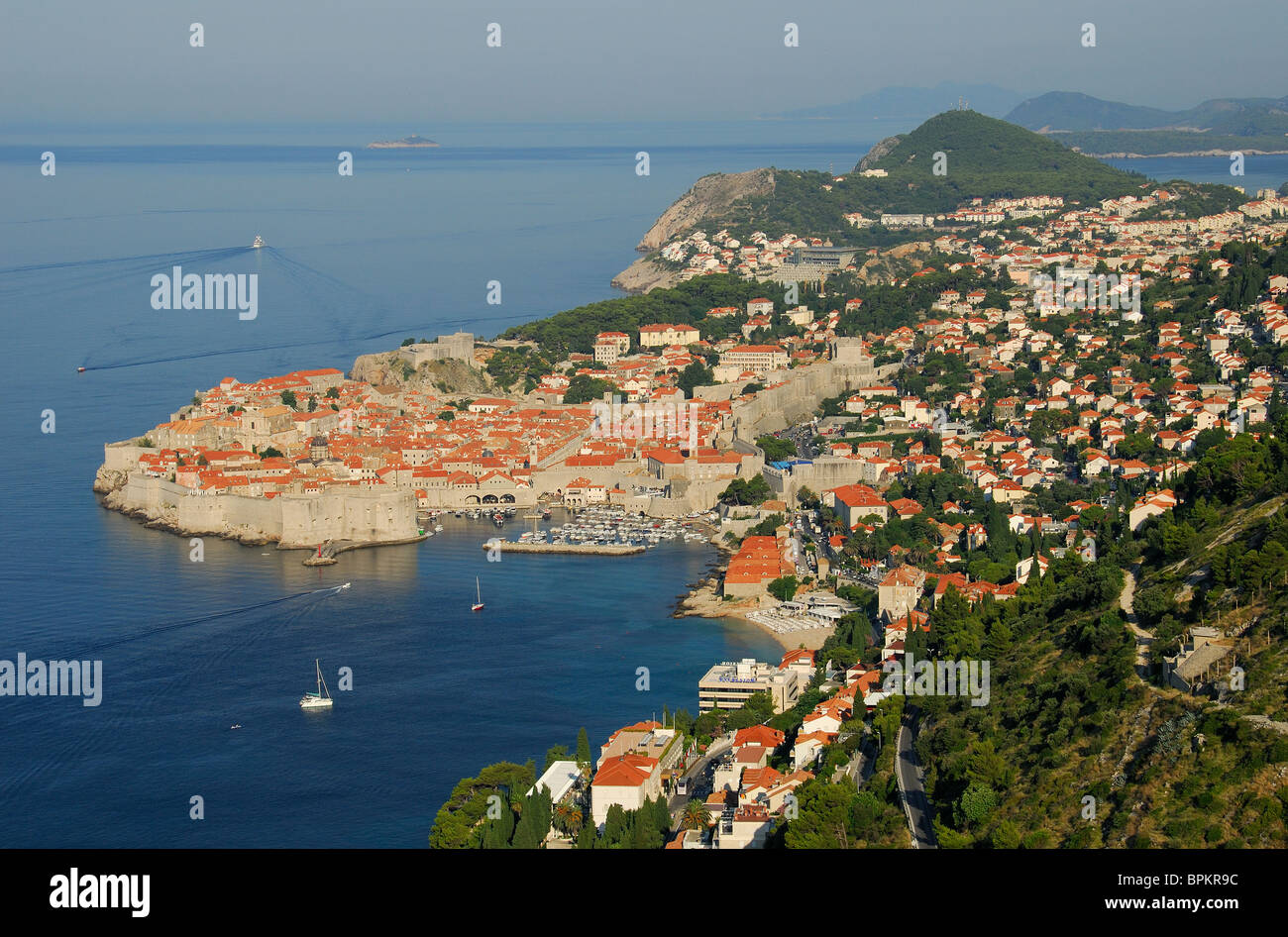 DUBROVNIK, CROATIA. A dawn view north over the old walled town towards the Lapad district and beyond to the Elaphite - Stock Image