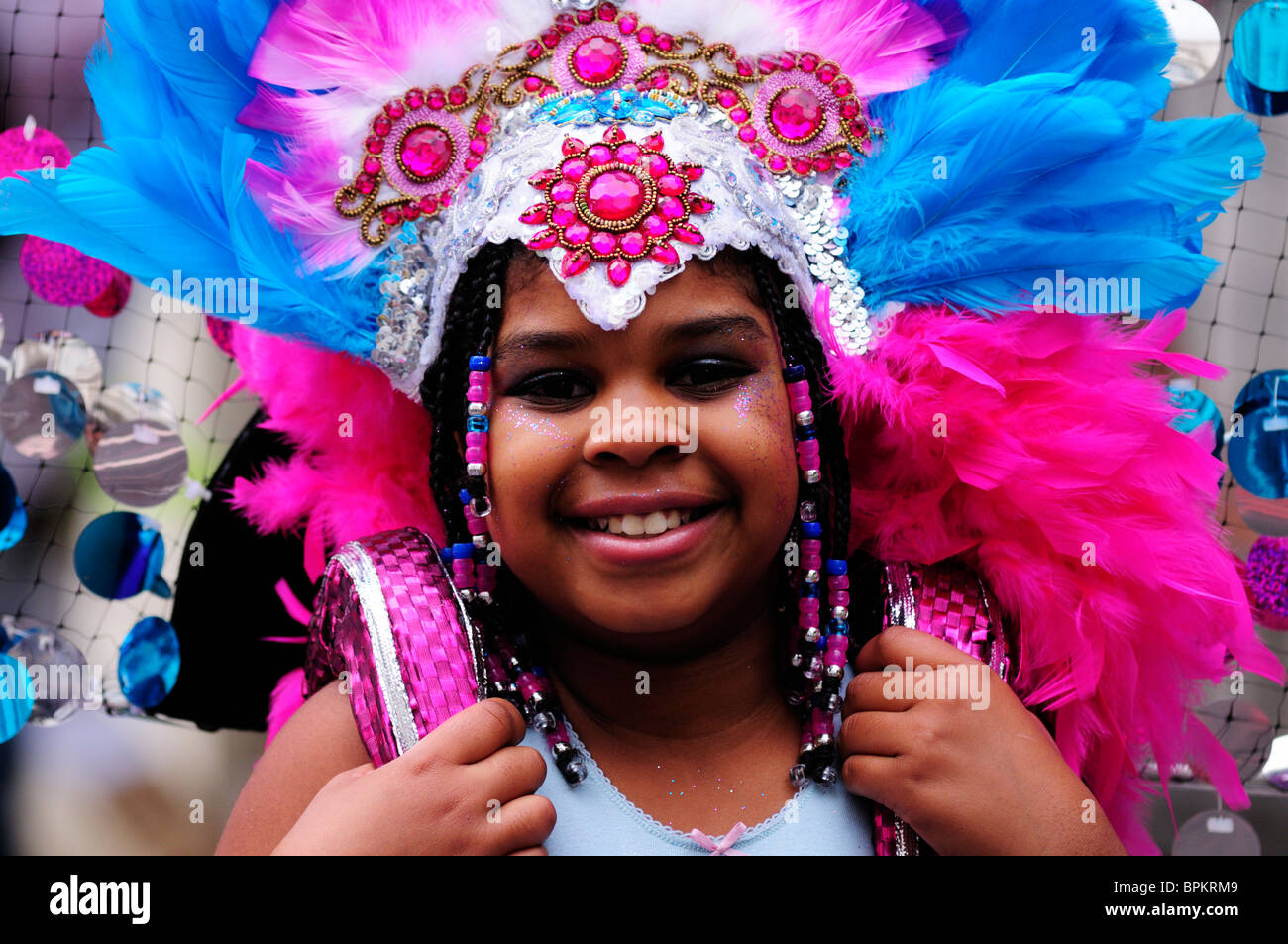 Portrait of a Girl at the Notting Hill Carnival Children's Day Parade, London, England, UK - Stock Image