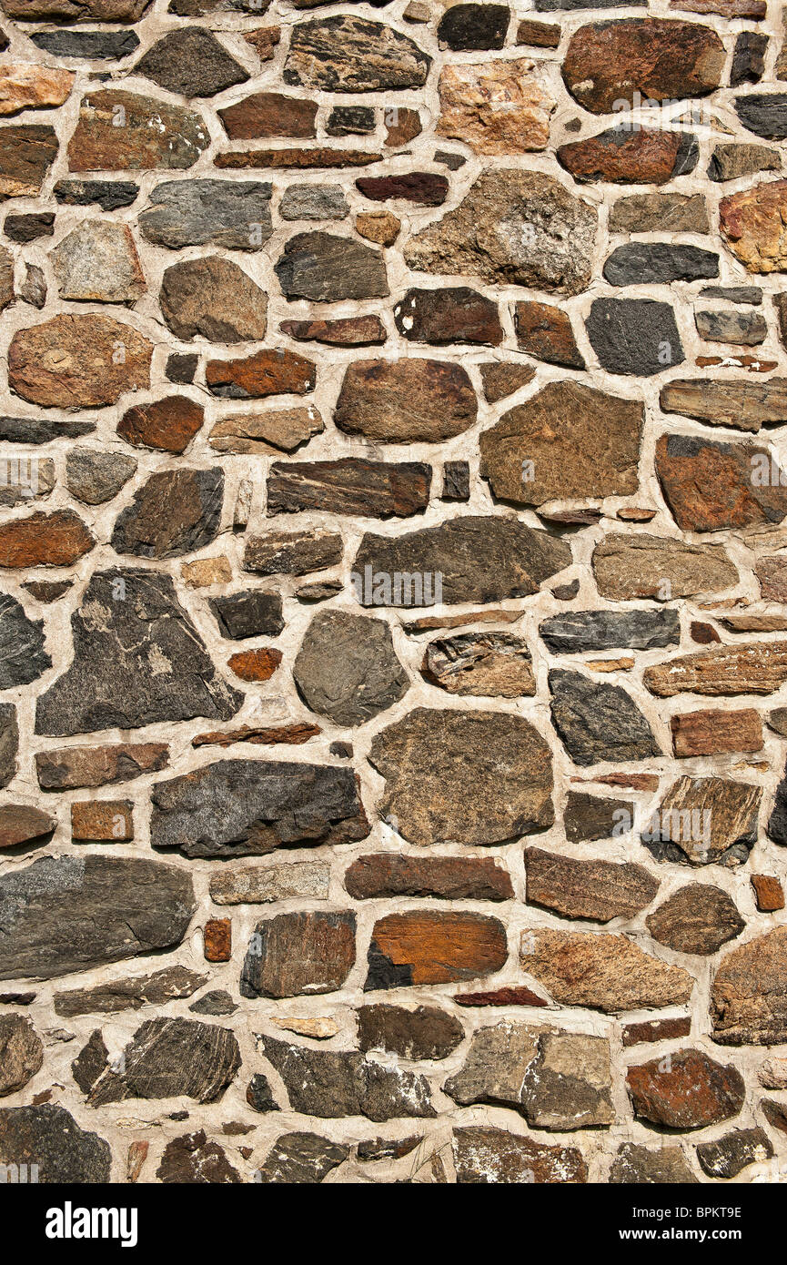 Fieldstone wall. - Stock Image