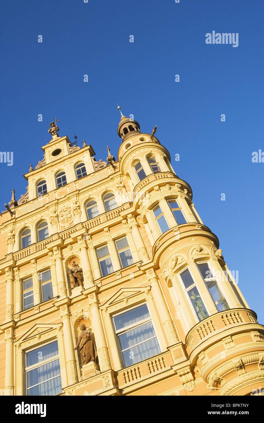 Old townhouse on the main square in Cesky Budejovice, South Bohemia, Sumava, Czech republic - Stock Image