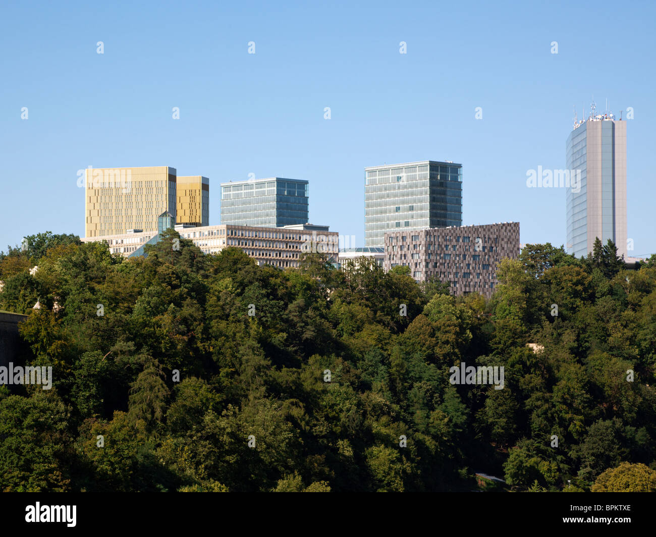 modern office buildings at the european quarter on the Kirchberg, Luxembourg city - Stock Image