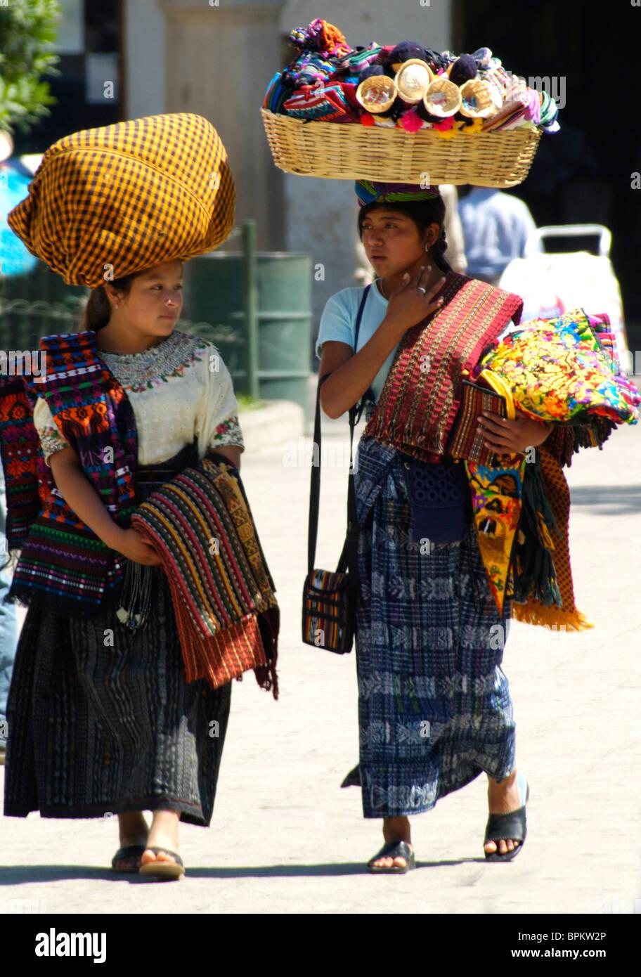 Mayan Girls, Guatemala - Stock Image