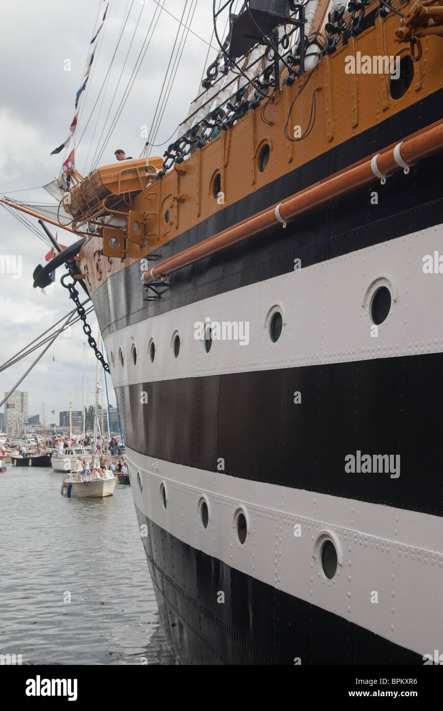 along the side of tall ship, Amsterdam Sail 2010 - Stock Image