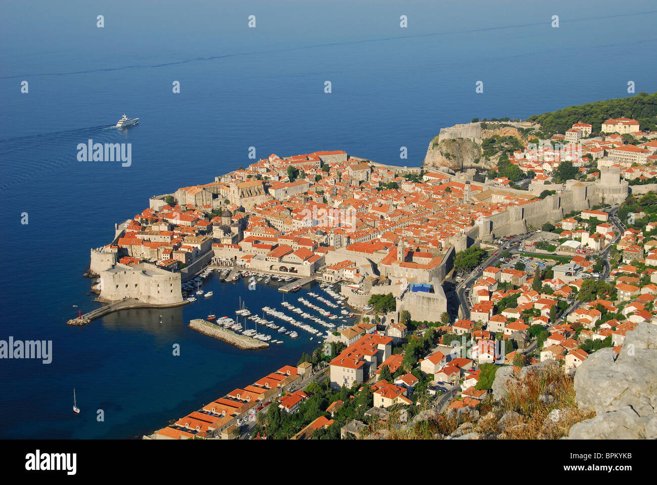 DUBROVNIK, CROATIA. A dawn view of the mediaeval walled town and harbour. 2010. - Stock Image