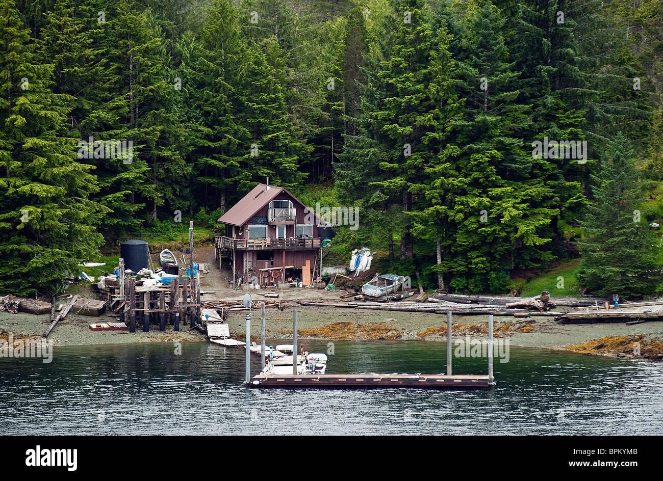 Off the grid cabin near Ketchikan, Alaska - Stock Image
