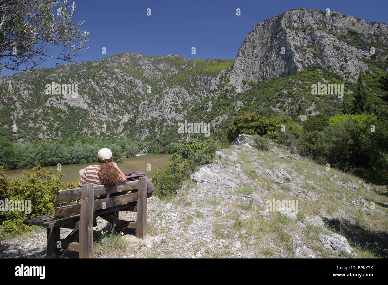 Nestos river, protected area 'Meanders of Nestos river', North Greece - Stock Image