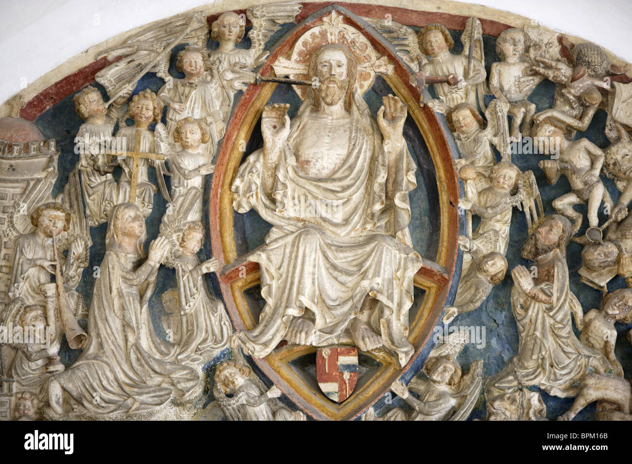 A wood depiction of god in the museum of the dome, Eichstaett, Upper Bavaria, Bavaria, Germany - Stock Image