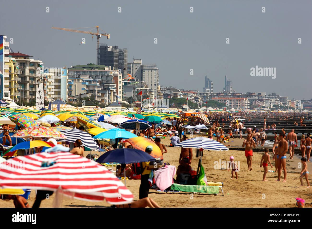 Beach of Jesolo, Adriatic Sea, Italy. - Stock Image
