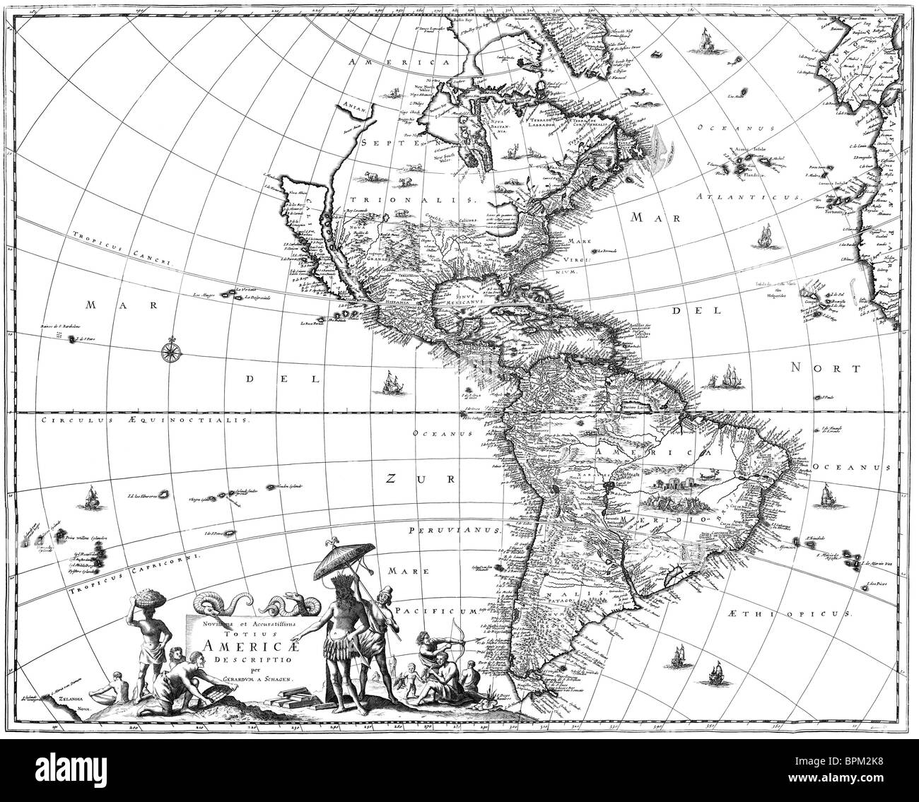 Map of North America and South America showing California as an island. - Stock Image