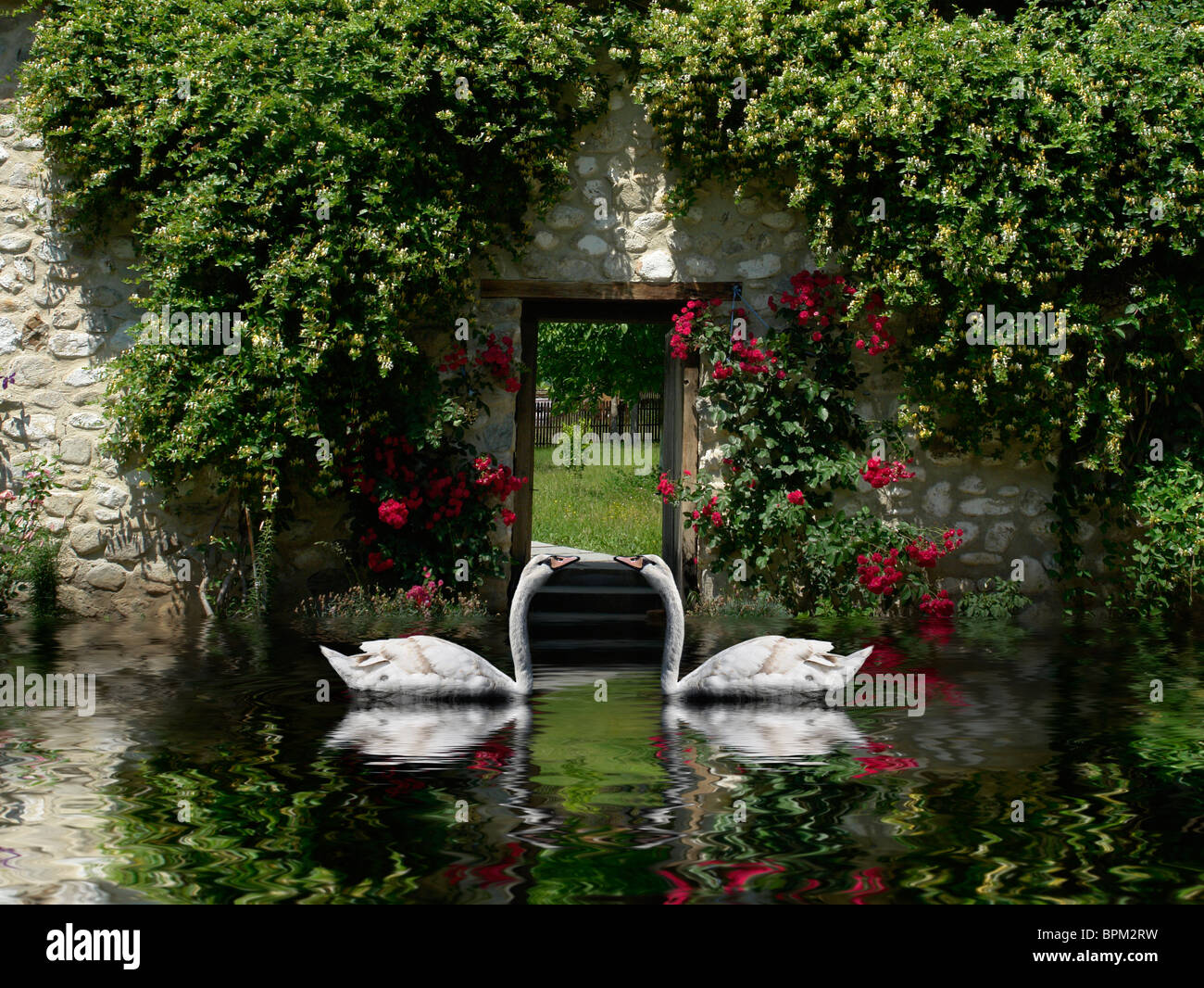 Beautiful scenery with loving swans in Venice Italy guarding a secret entrance to a heavenly garden Stock Photo