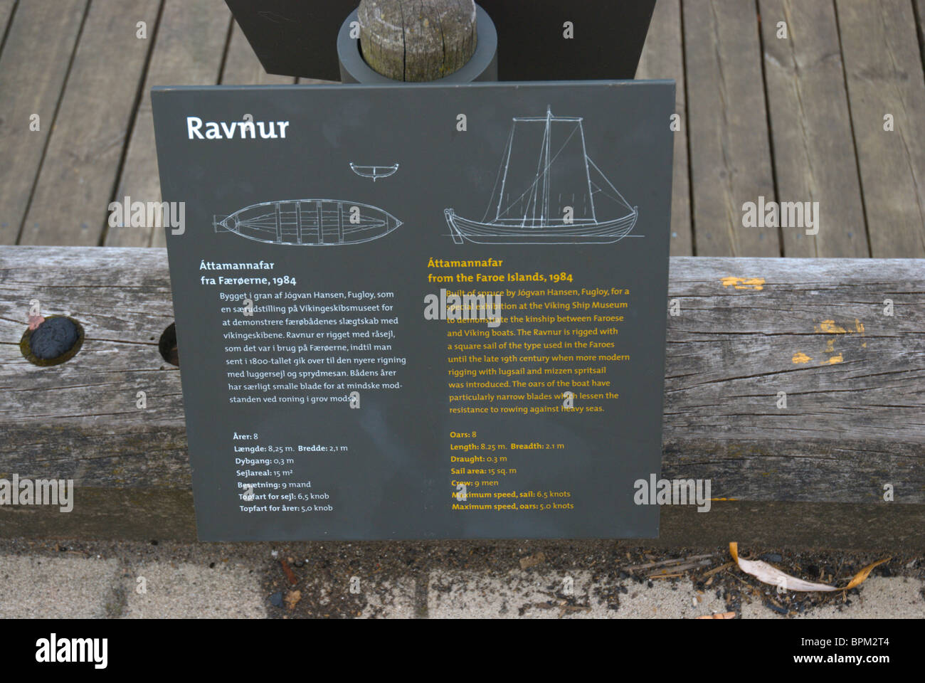 Sign at the outdoor Viking boat museum at Fjord of Roskilde Denmark Europe - Stock Image
