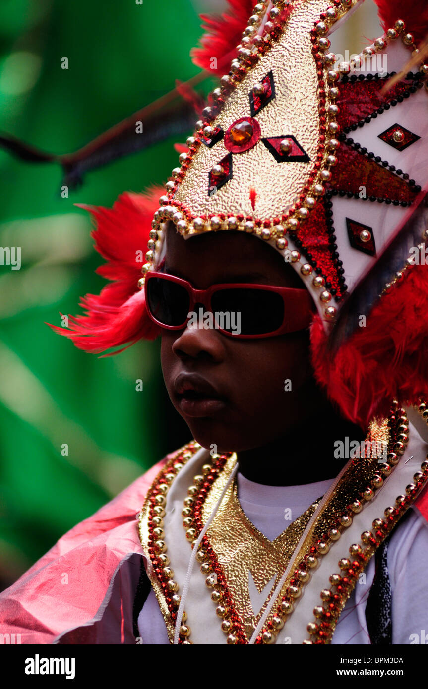 Portrait of a boy at the Notting Hill Carnival Children's Day Parade, London, England, UK - Stock Image