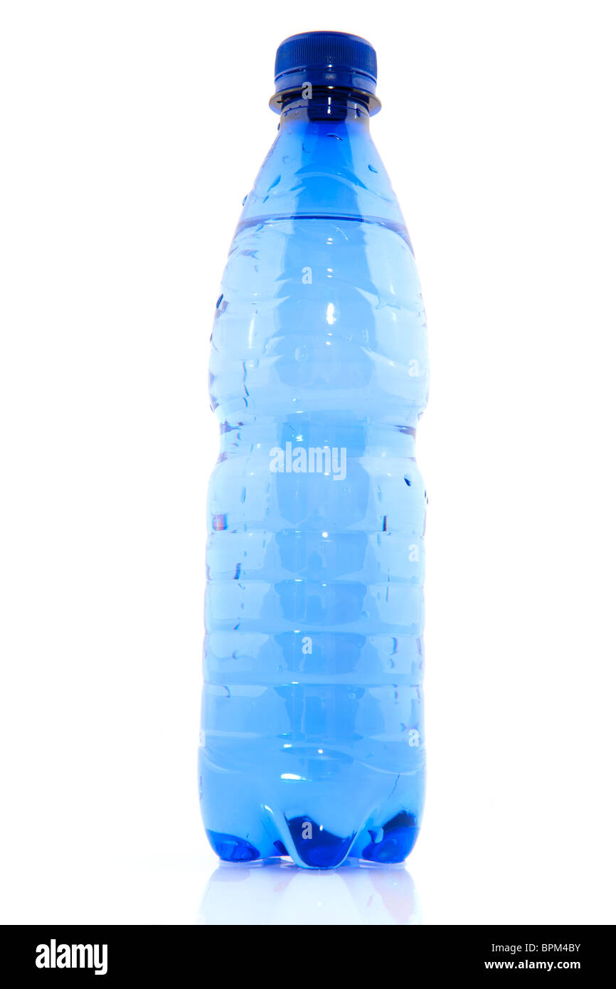 Blue plastic bottle filled with fresh water - Stock Image