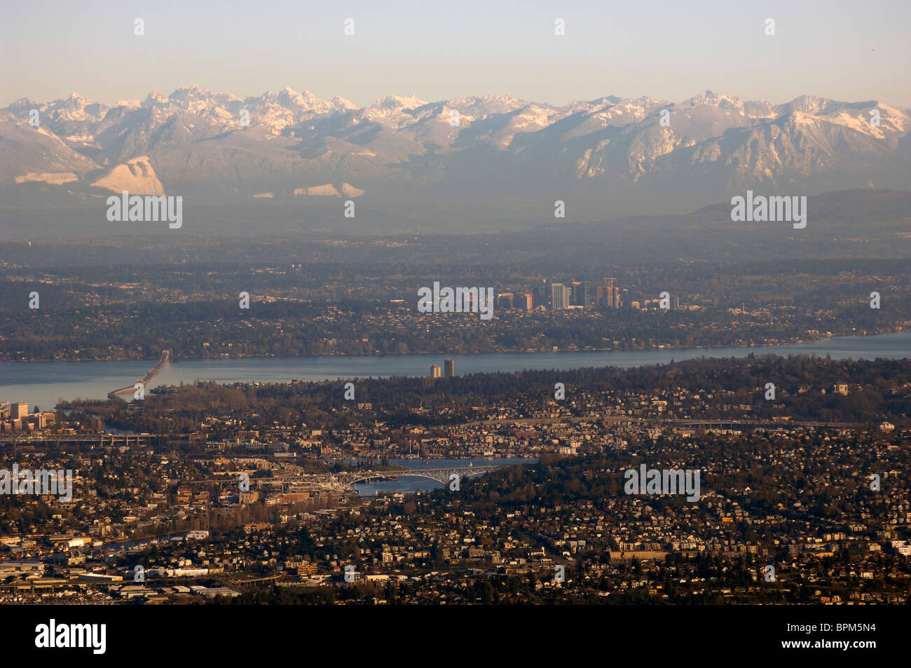 Seattle,Lake Union,Lake Washington,Bellevue & Cascades aerial - Stock Image