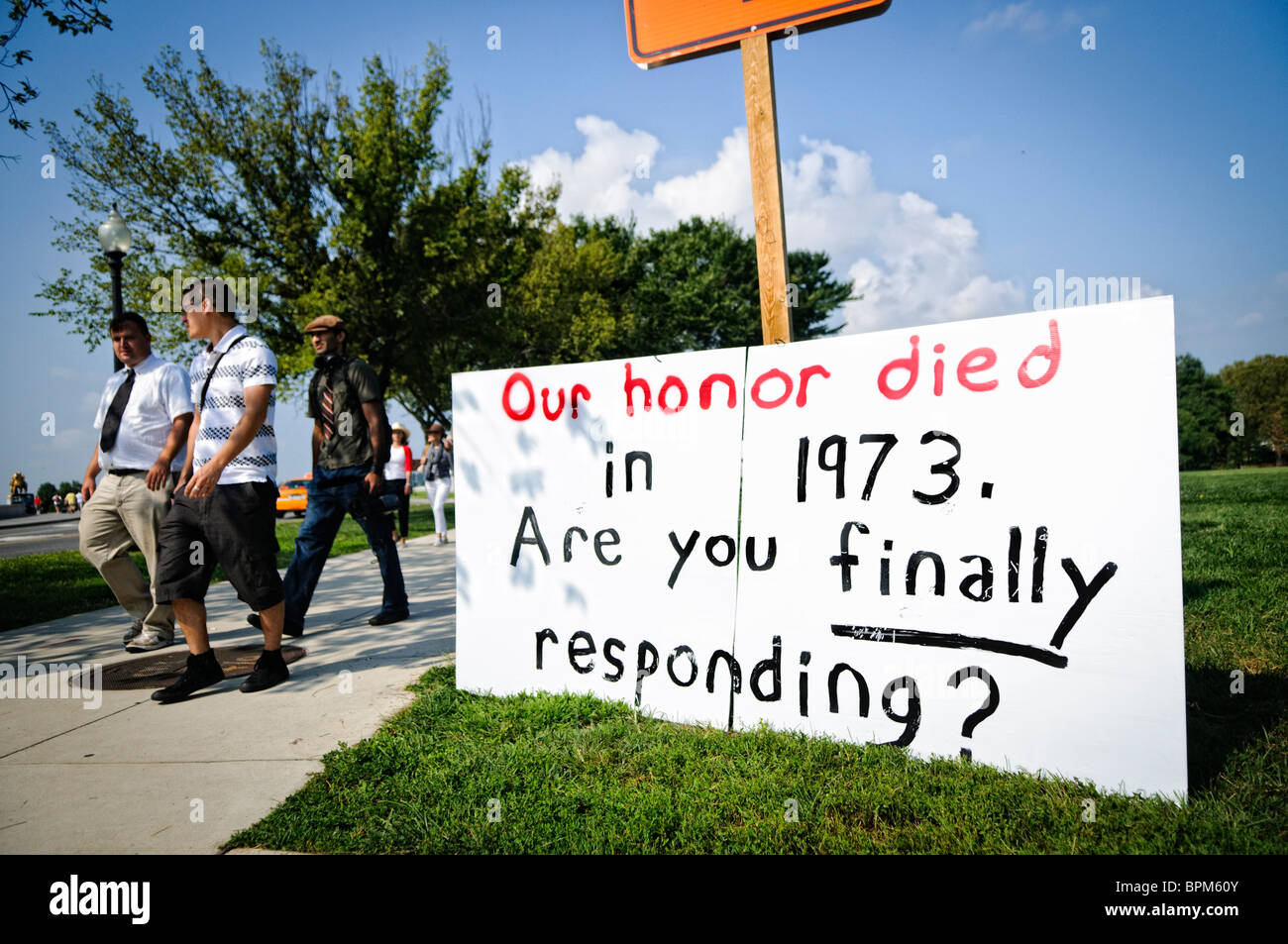 Anti-abortion protesters at the Tea Party Rally of 08/28/10. The 1973 reference is to the passage of the Supreme - Stock Image