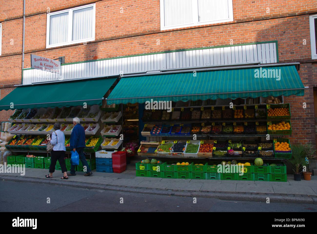 Greengrocer and supermarket exterior central Roskilde Denmark Europe - Stock Image