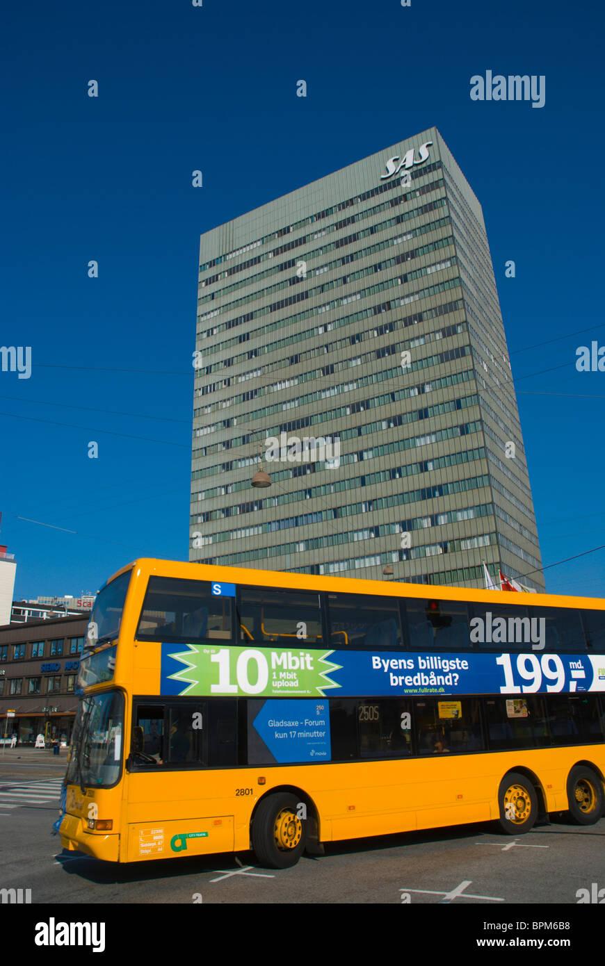Double decker yellow public bus Vesterbrogade central Copenhagen Denmark Europe Stock Photo