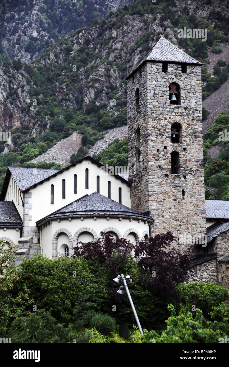 The belfry tower of St Esteve church in the centre of the capital city of Andorra La Vella in Andorra Stock Photo