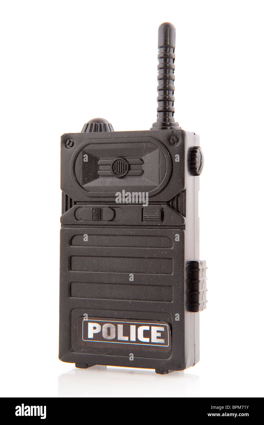 Black police walkie talkie for communication isolated over white - Stock Image