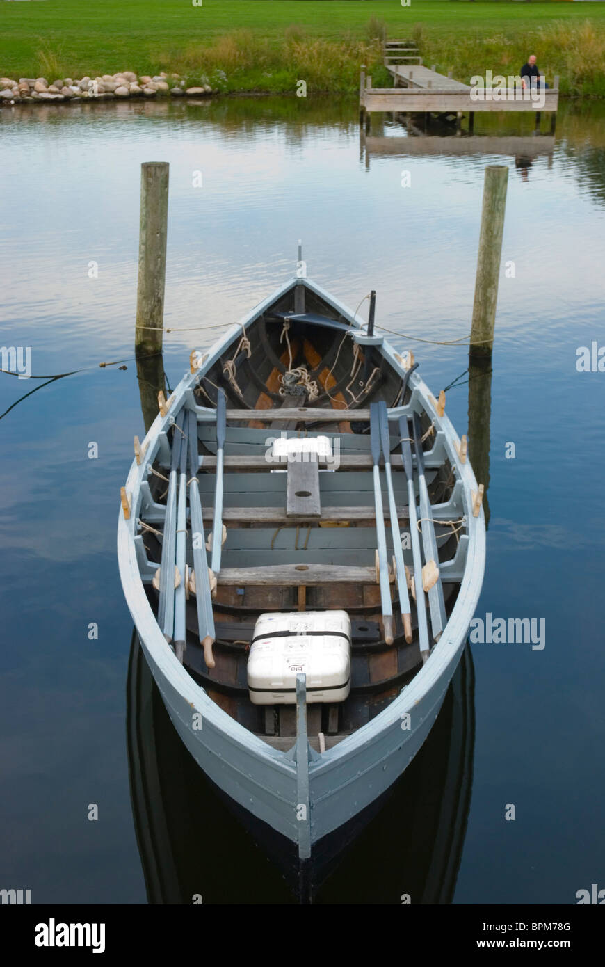 Replica of Blakman boat from Faroe Islands at Roskilde Fjord lake Roskilde Denmark Europe - Stock Image