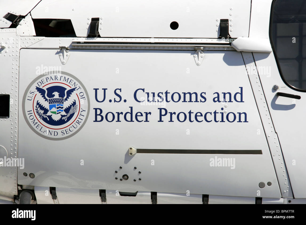 US Department of Homeland Security Customs and Border Protection helicopter detail - Stock Image