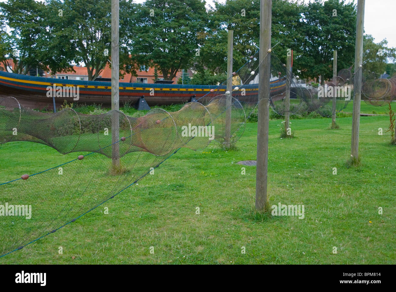 Fishing nets at Viking Ship Museum at Fjord of Roskilde Denmark Europe - Stock Image