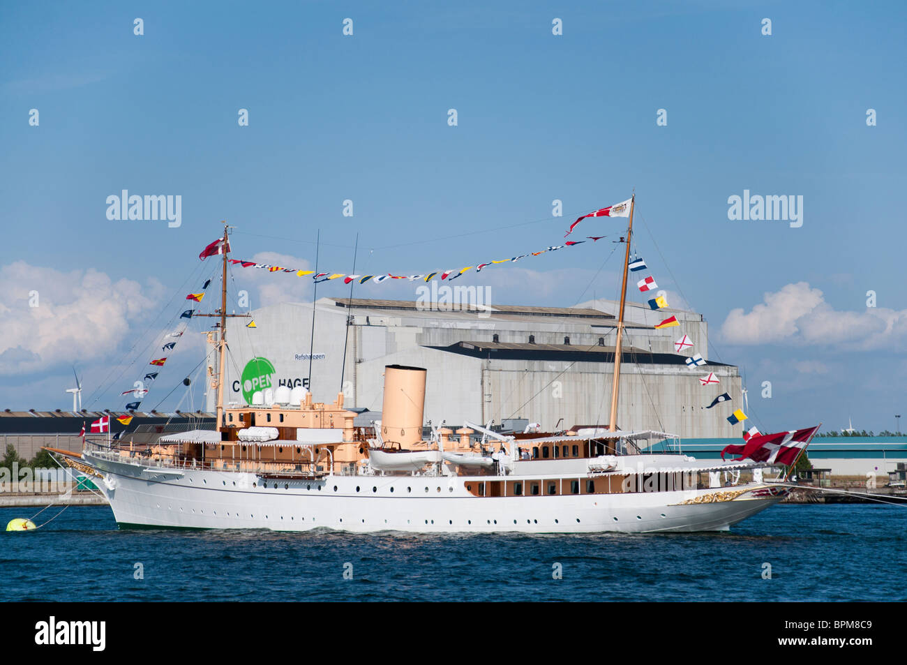 The (HDMY Dannebrog A540) Danish Royal Yacht anchored in the port of Copenhagen, Denmark during the 500 year anniversary. - Stock Image