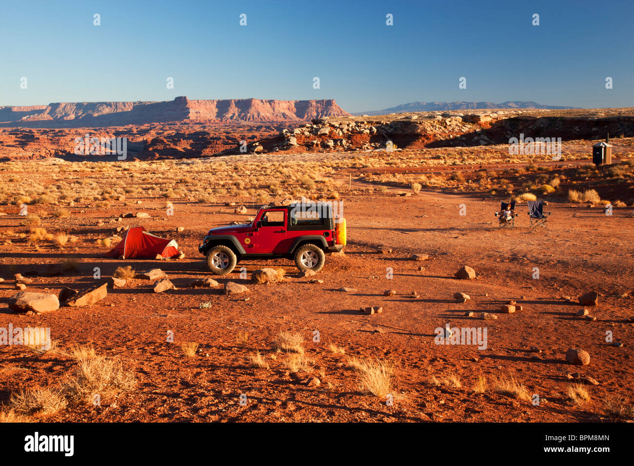 Camping long the White Rim Trail at the Airport Campground, Islands of the Sky, Canyonlands National Park, near Stock Photo