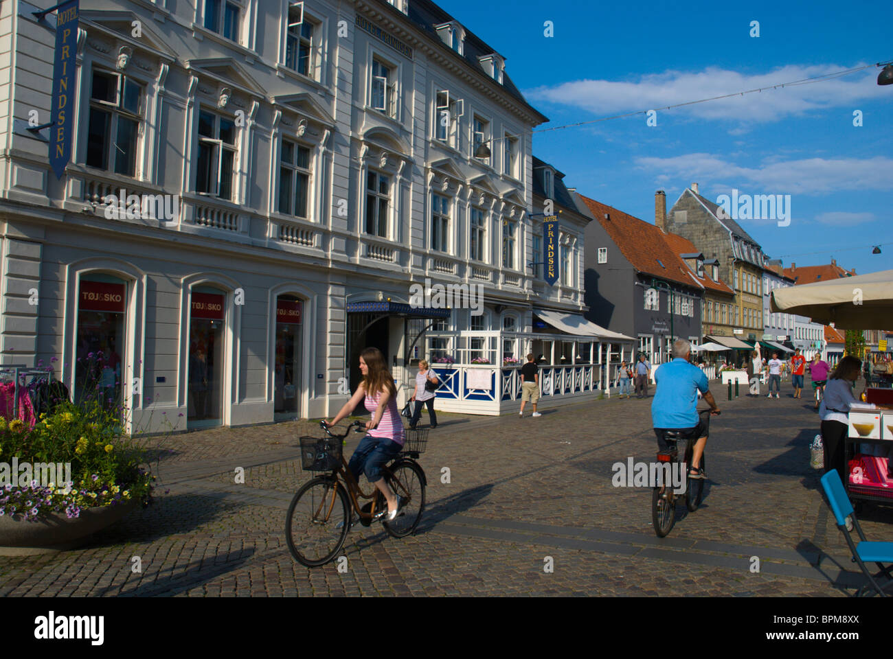 Algade main pedestrian street Roskilde Denmark Europe - Stock Image