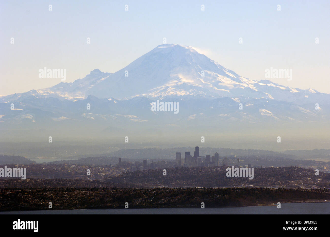 Seattle and Mount Rainier from Northwest - Stock Image