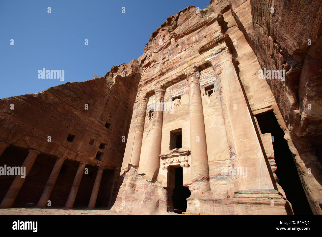 The Urn tomb, one of the royal tombs in Petra, Jordan Stock Photo