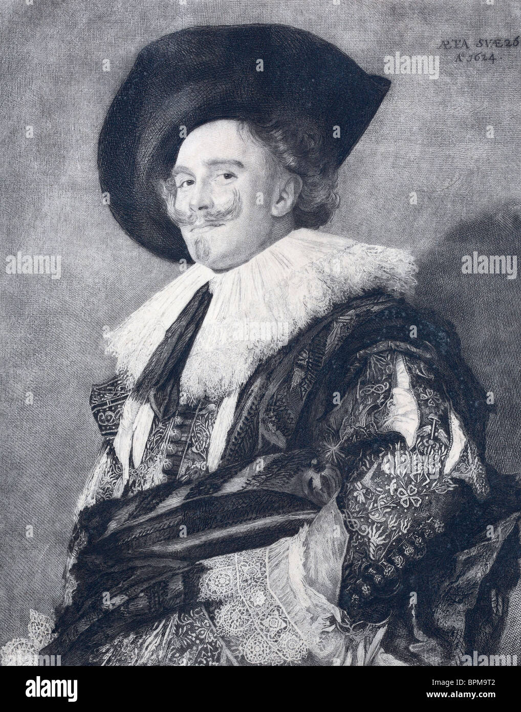 Etching by Petrus Arendzen of The Laughing Cavalier by Frans Hals. - Stock Image