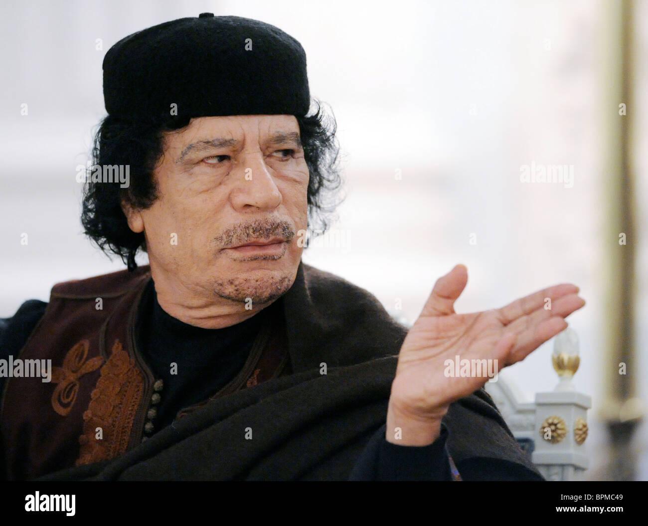 Russian PM meets Libyan leader Muammar Gaddafi - Stock Image