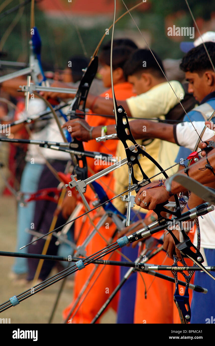 Young Indian archers at an archery contest. Stock Photo