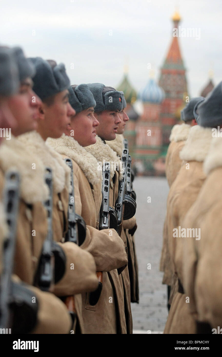 Historic World War Two military parade reconstructed in Moscow - Stock Image