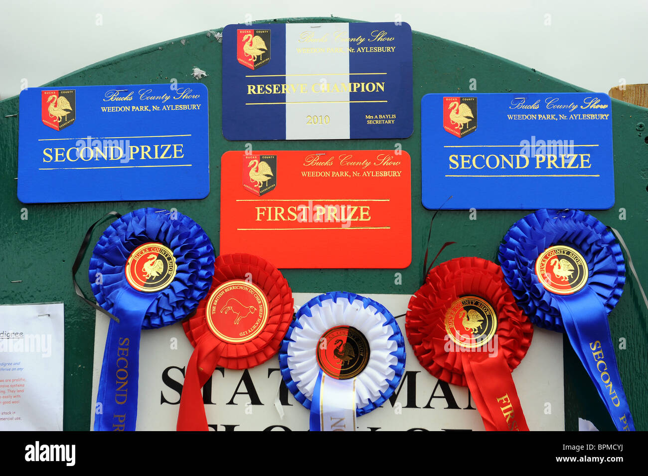 Prize rosettes at the Bucks County Show - Stock Image