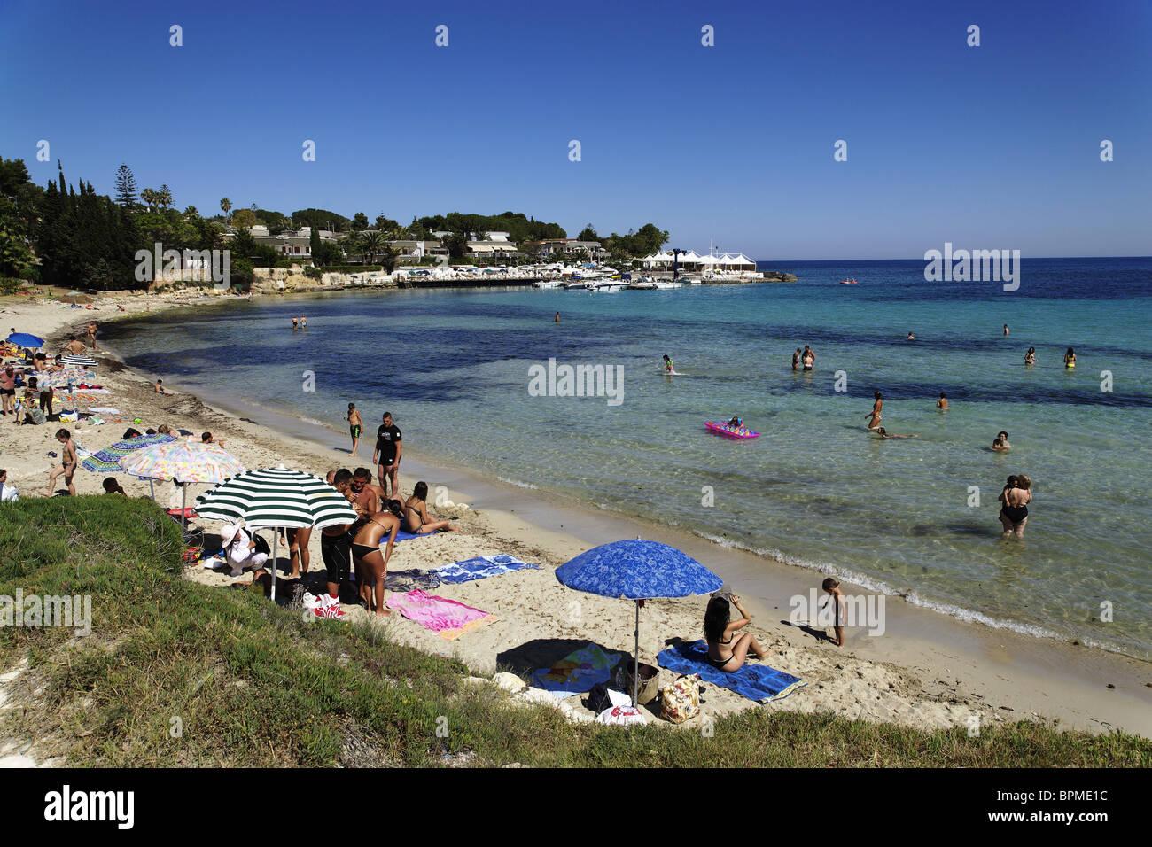 Beach of Fontane Bianche, Syracuse, Sicily, Italy Stock Photo