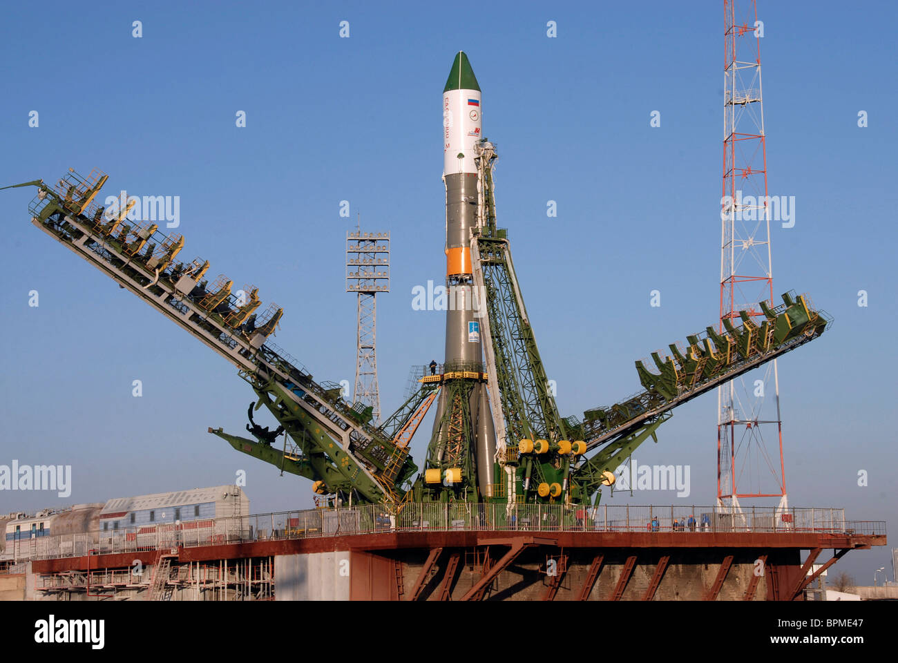Soyuz-U space rocket with Progress М-01М cargo vehicle to be launched from Baikonur Cosmodrome - Stock Image