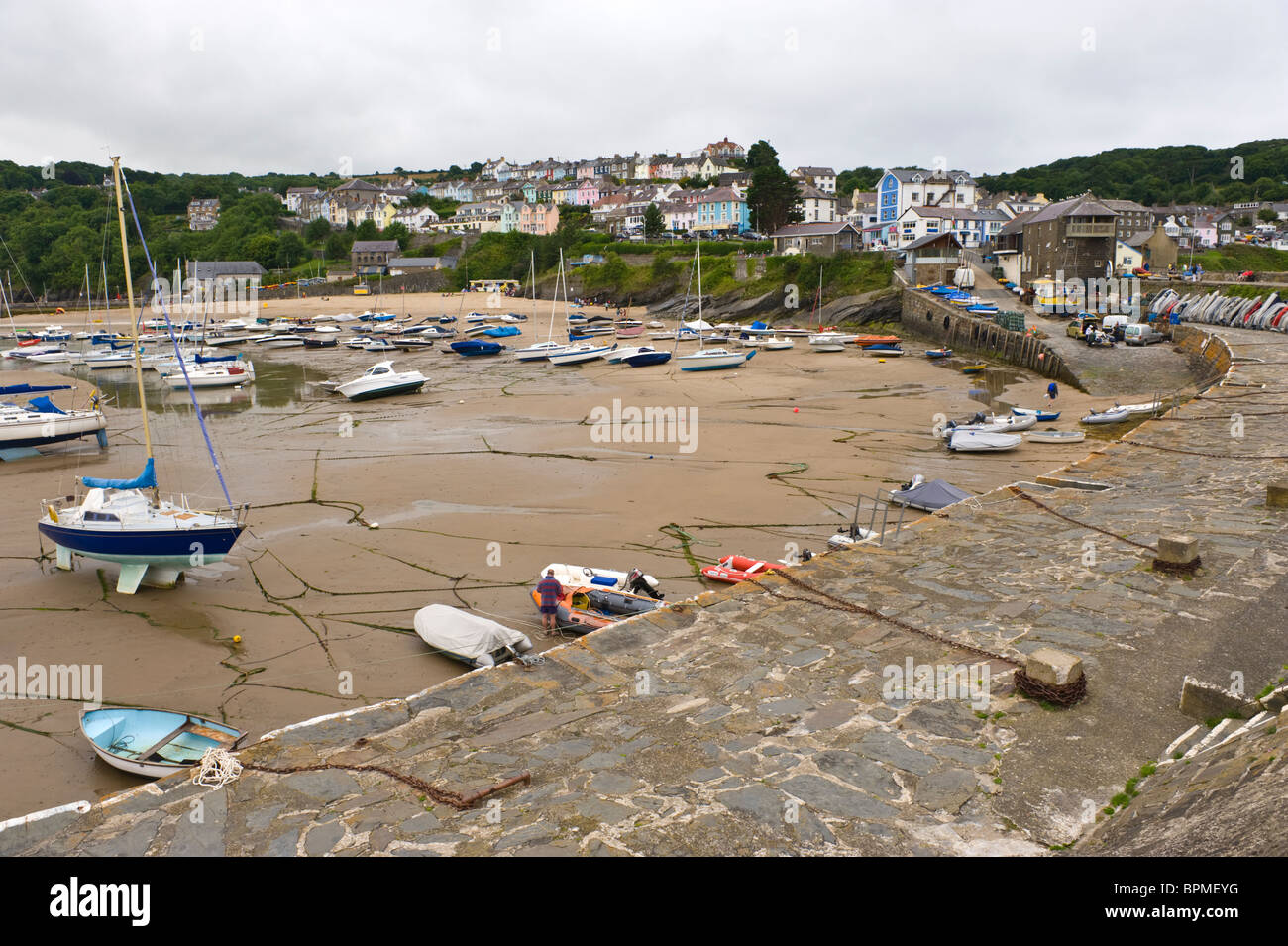 View over picturesque harbour in the Welsh seaside holiday resort of New Quay Ceredigion West Wales UK Stock Photo