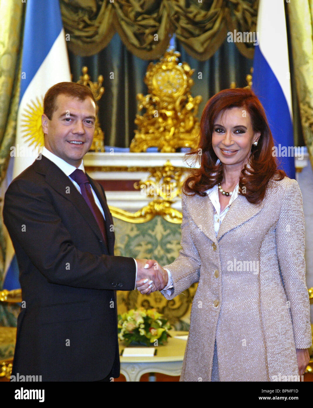 President of Russia and president of Argentina meet for talks - Stock Image