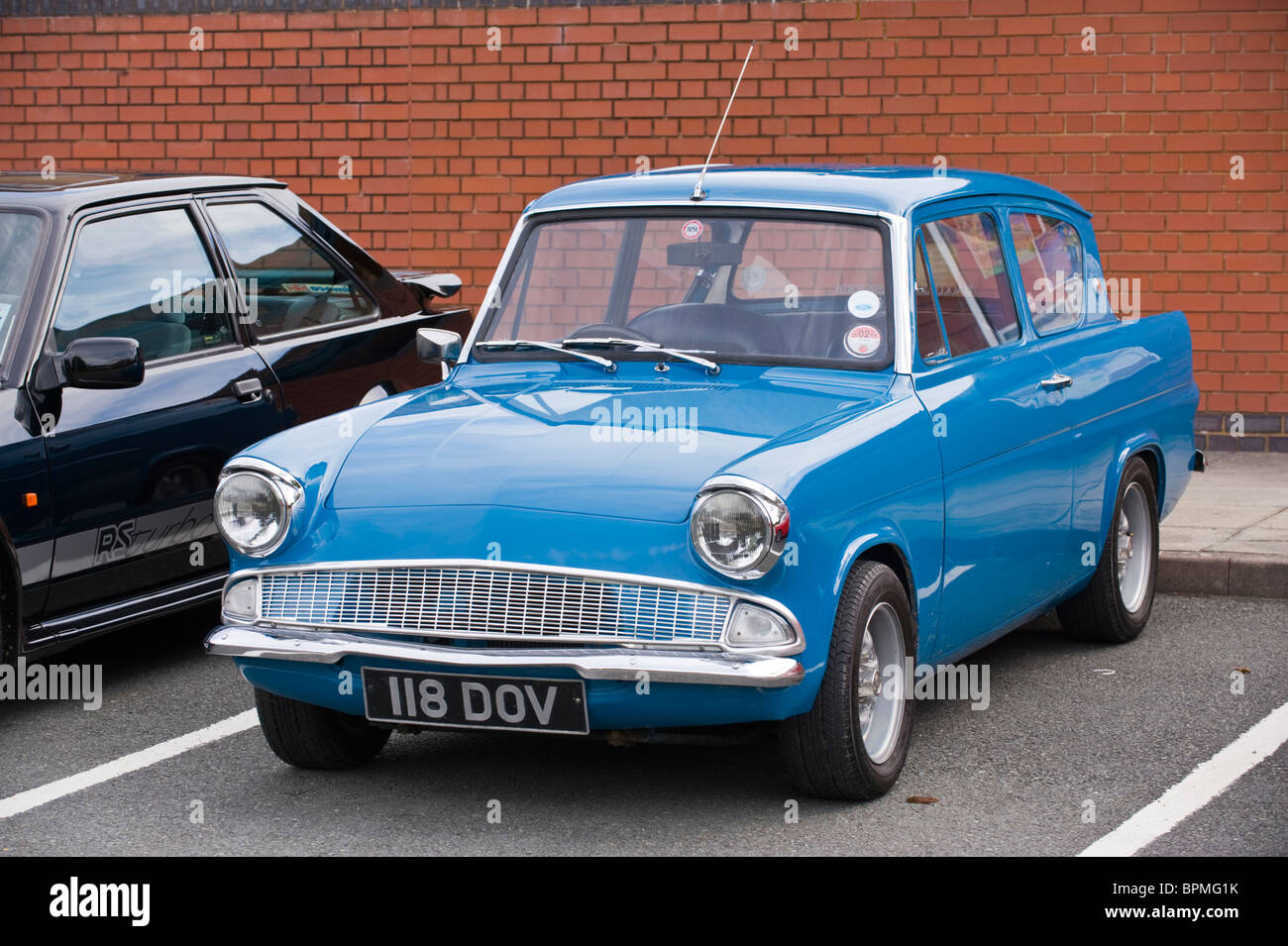 Blue ford anglia restored classic british motorcar