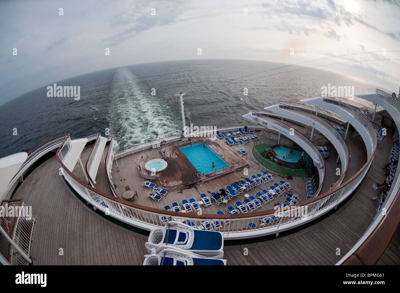 A fisheye photograph of the aft/stern of the P&O cruise ship 'Aurora'. Stock Photo