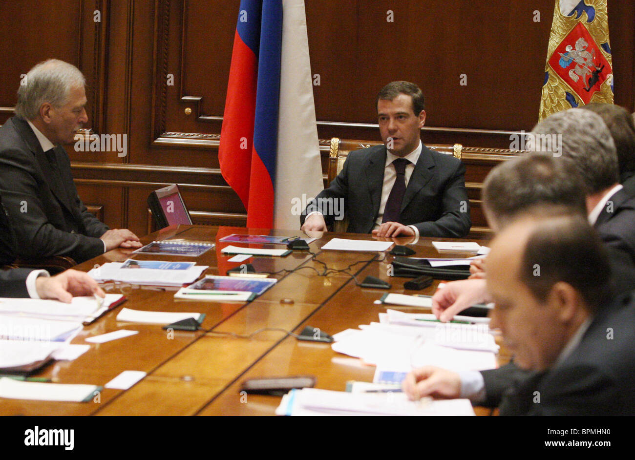 Medvedev chairs Security Council meeting - Stock Image