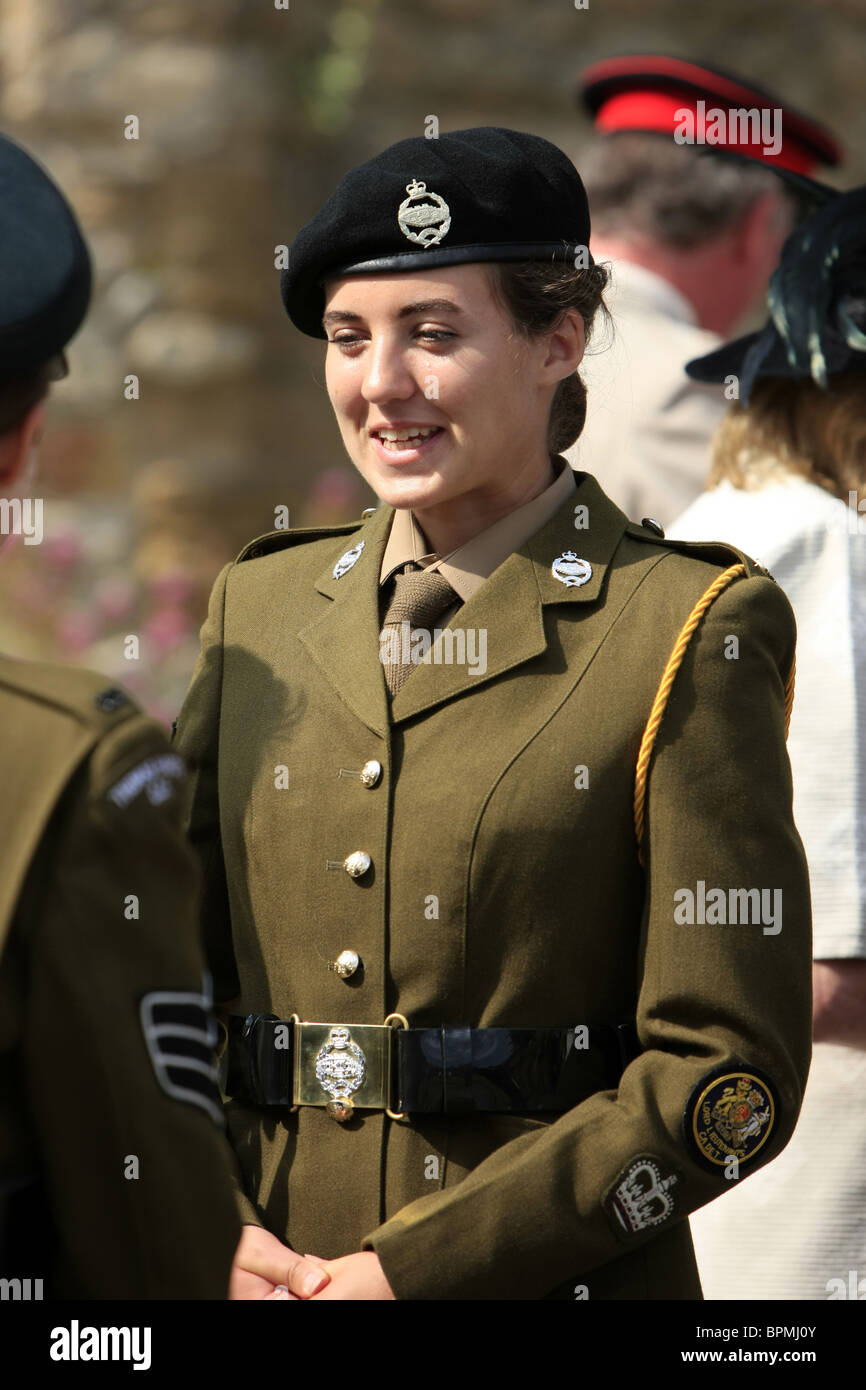 Teenage Female Army Cadet Warrant Officer In The Tank