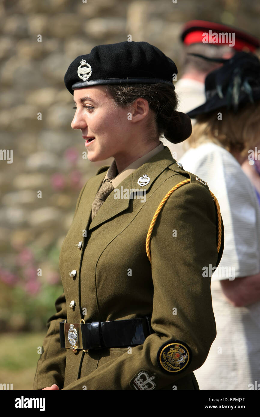 cd33c205 Teenage female Army Cadet Warrant Officer in the Tank Regiment at the UK  Armed Forces Day parade in Sherborne Dorset on June 26