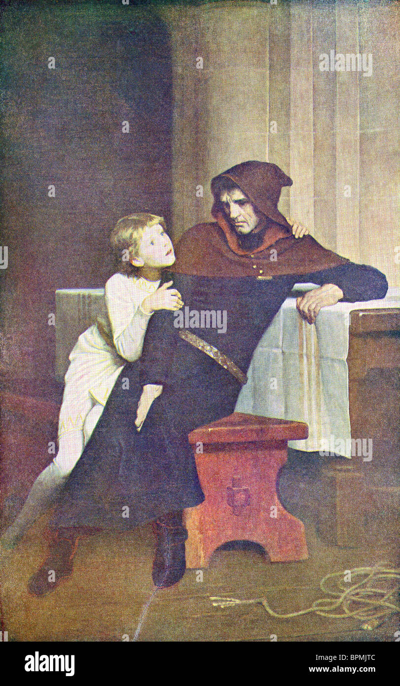 The young Prince Arthur of England and Hubert in his prison in Rouen, France - Stock Image