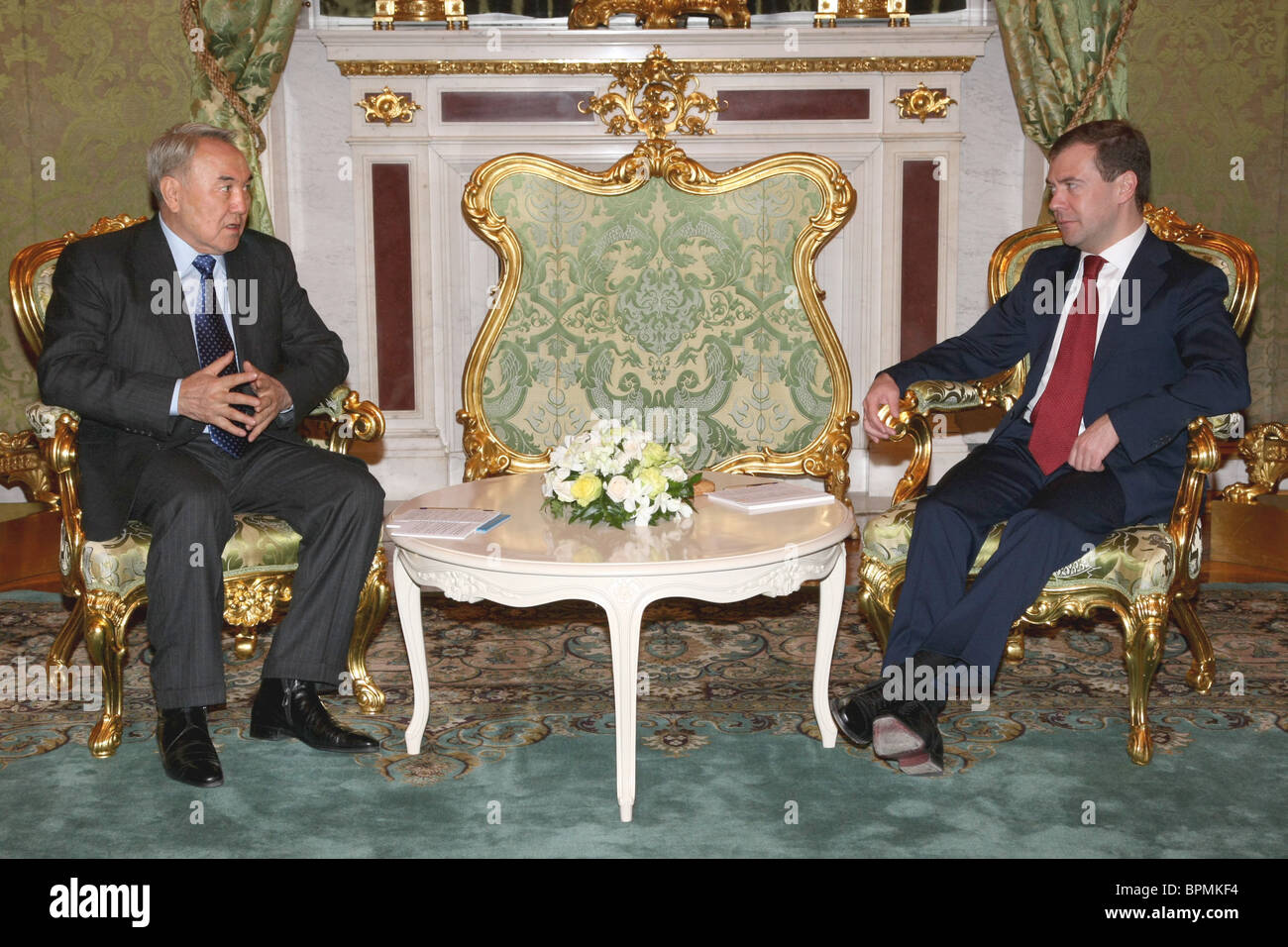 Leaders of Russia and Kazakhstan meet for talks - Stock Image